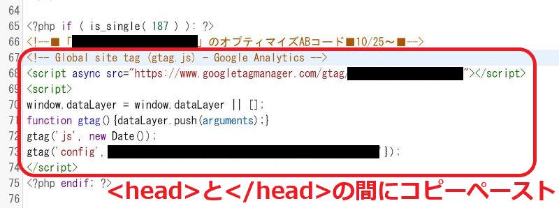 ➉-2 対象サイトの特定ページにのみ読込させるコードをhead下に記述
